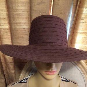 Brown Cotton Bands Wide Brim Summer Hat